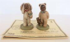 2 Pc All God'S Children Bootsie & Bo In Bunny & Bears Suits Figurines W/Coa Box