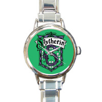 Slytherin House Italian Charm Link Bracelet Watch Harry Potter Fans