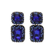 Boucles d`Oreilles CLIP ON Doré Noir Art Deco Rectangle Bleu Vintage Mariage X16