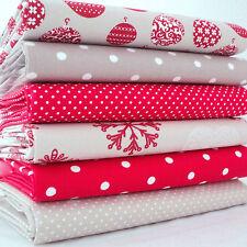 6 X FQ BUNDLE BAUBLES DOTS & SNOWFLAKES RED BEIGE - CHRISTMAS 100% COTTON FABRIC