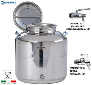FUSTO SANSONE SALDATO EUROPA 30 LITRI LT INOX 18/10 CONTENITORE OLIO BIDONE