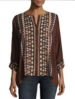 Johnny Was Cenote Top Brown Embroidered Boho Blouse Women's Plus Size 1X