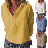 Plus Size Women V Neck Long Sleeve Blouse Loose Linen Tops Ladies Casual T Shirt