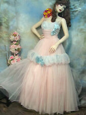 VINTAGE Emma Domb Calif DESIGNER Dress PINK TULLE blue satin BALLGOWN wedding