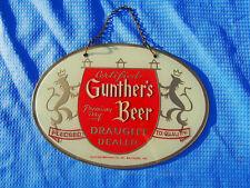 Vintage Gunther's Beer Certified Draught Dealer Etched Glass Pub Bar Sign Rare!