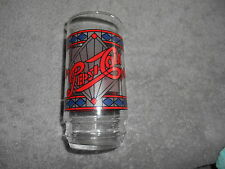 PEPSI COLA GLASS / TIFFANY TYPE - BLUE DIAMONDS AT TOP AND BOTTOM OF PATTERN