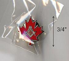 "RARE CANADA MAPLE LEAF:LG 3/4""MASON MASONIC LAPEL PIN-CANADIAN FREEMASON MASONRY"