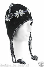 Wigwam F4201 Machu Picchu Flake Hat Black NWT Ear Flap, One Size, Wool