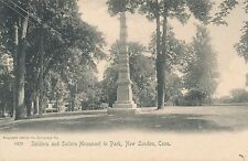 NEW LONDON CT – Soldiers and Sailors Monument in Park Rotograph Postcard – udb