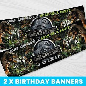 Personalised Jurassic World Birthday Banner - Children Party Banner x 2