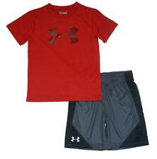 Under Armour Boys S/S Red Dry Fit Big Logo Top 2pc Short Set Size 5