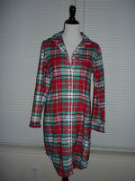 Lands' End Flannel Red Green Plaid Check Pajamas Nightgown, 100% Cotton, Sz S