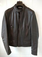 DKNY Brown Leather JACKET - SIZE SMALL - GOOD CONDITION & Great Detail
