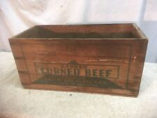 VINTAGE  Libbys  COOKED CORNED BEEF WOODEN CRATE Product of Argentian