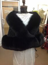 "LOVELY BLACK FOX ""DIAMONDS"" CRYSTALS STOLE CAPE WRAP SHRUG TAILS NEW EVENING"