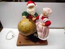 Grandeur Noel Vintage Animated Christmas Display Santa & Mrs Clause With Globe