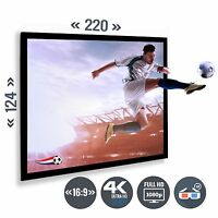 Beamer Leinwand Rahmenleinwand Heimkino 100 Zoll 220 x 125 / 16:9 Full HD 3D 4K