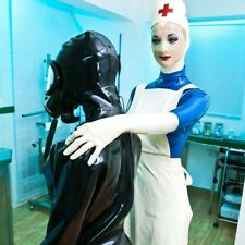 New LatexPure Rubber Cosplay Nurse Uniform Hooded Catsuit with Apron SizeXXS-XXL