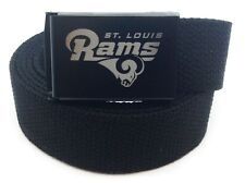 Custom Made St Louis Rams Canvas Web Belt and Buckle