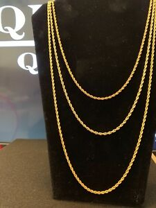 18k Yellow Gold Plated 3mm Rope Chain/Necklace 30in Will Not Fade