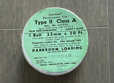 RARE! ANSCO Supreme Panchromatic Film Negative B&W 35mm, 50'ft Bulk Roll Vintage