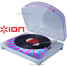 Ion Photon LP Multi Color Lights Record Player USB Conversion Turntable White