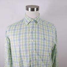 Vineyard Vines Mens Cotton Ls Button Up Blue Lime Green Plaid Whale Shirt Medium