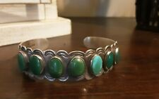 Vintage Native American Coin Silver Turquoise Cuff Bracelet