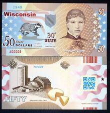 USA States, Wisconsin, $50, Polymer, ND (2017), Laura Wilder
