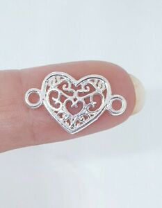 20 pcs Silver Heart Charm Pedant For Jewelry Making Bracelet  Necklace.