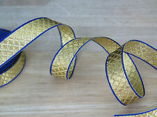 """GOLD Metallic/ Blue QUILT Design Ribbon 5/8"""" Costumes/ Crafts/ Home Decor BTY"""