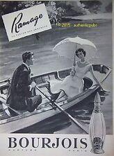 PUBLICITE BOURJOIS RAMAGE PARFUM DES AMOUREUX BARQUE DE 1958 FRENCH AD VINTAGE
