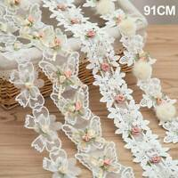 2 yards flower embroidery lace trimming ribbon decoration decal sewing accessory