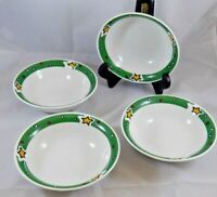 Set of 4 Gibson Designs CHRISTMAS TREASURES Soup Cereal Bowls Holiday Green Band