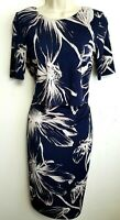 PHASE EIGHT JERSEY PENCIL DRESS UK8 NAVY BLUE BEIGE FLORAL STRETCH