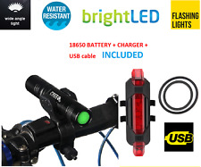 rechargeable FRONT & REAR LED bike lights set for mountain road bike bicycles