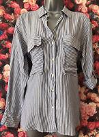 ZARA M/12 Vgc Blue/white stripe long Sleeve longline shirt blouse top