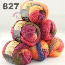 SALE LOT 6 Skeins x 50gr NEW Chunky Colorful Hand Knitting Scores Wool Yarn 827