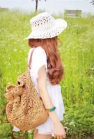 Fashion Women Girl Backpack Bag Handbag Straw Woven Summer Beach Shoulder Bag