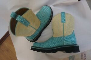 ARIAT Fatbaby Beige/Blue Leather Size 10 Turquoise Teal Cowgirl Boots Aqua Croc