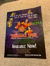 """11-8 1/4"""" Dragons Lair 20th Anniversary Edition   ARCADE VIDEO  GAME FLYER"""