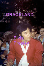 ELVIS PRESLEY IN RED SHIRT WITH FANS GRACELAND 1970 ORIGINAL PHOTO CANDID