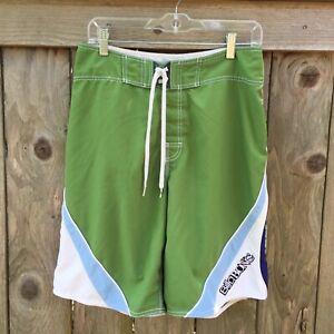 Men's Billabong Green / White, Blue Trim Swim Trunks Board Shorts Logo Size 31