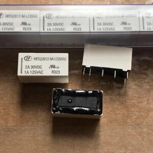 10Pcs HFD2/012-M-L2 12V Coil Bistable Latching Relay DPDT 2A 30VDC
