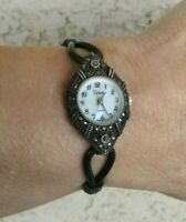 "Viviani Sterling Case MOP Dial Marcasite Rubber Bracelet Watch 6"" Wrist New Batt"