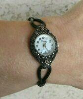 """Viviani Sterling Case MOP Dial Marcasite Rubber Bracelet Watch 6"""" Wrist New Batt"""