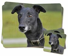 Black Greyhound Dog Twin 2x Placemats+2x Coasters Set in Gift Box, AD-GH8PC