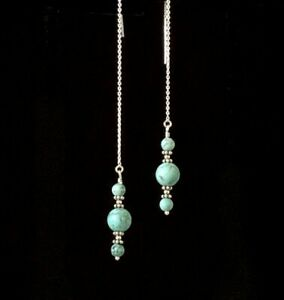 *IAJ* Turquoise Round Drop Dangle, Sterling Silver Ear Threads Threader Earrings