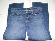7 FOR ALL MANKIND STONEWASHED/FRAYED BLUE BOOTCUT JEANS W27 L26