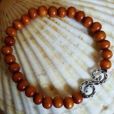 Silver Tooled Spiral Natural Wood Mala Beads Stretch Bracelet Yoga Sibukaw Wood